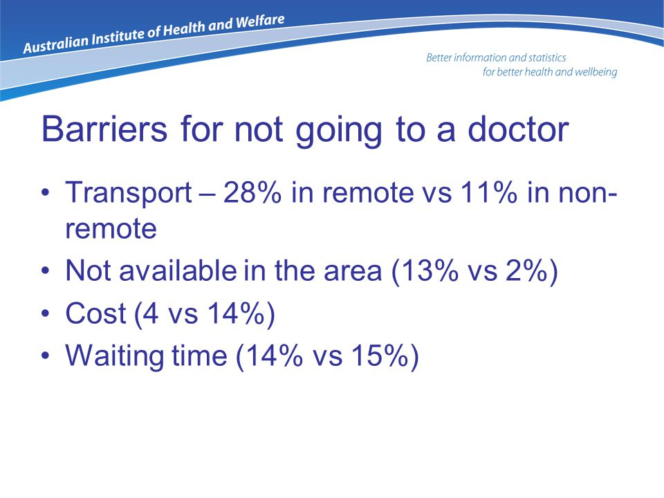 Barriers for not going to a doctor Transport – 28% in remote vs 11% in non- remote Not available in the area (13% vs 2%) Cost (4 vs 14%) Waiting time (14% vs 15%)