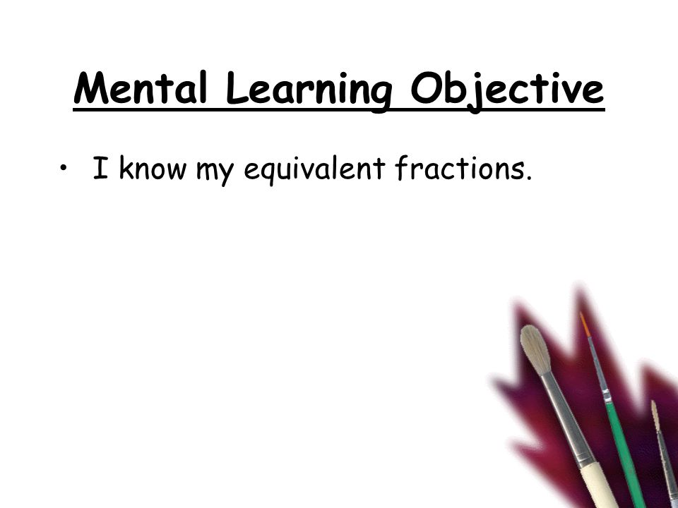 Main Learning Objective I can place fractions in order on a number line.