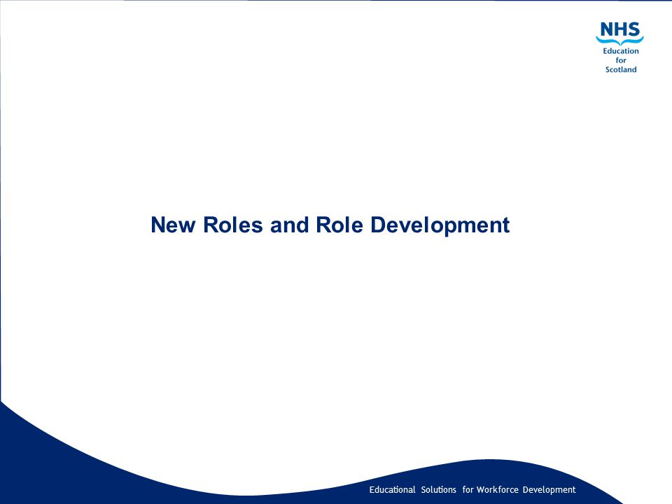 Educational Solutions for Workforce Development New Roles and Role Development
