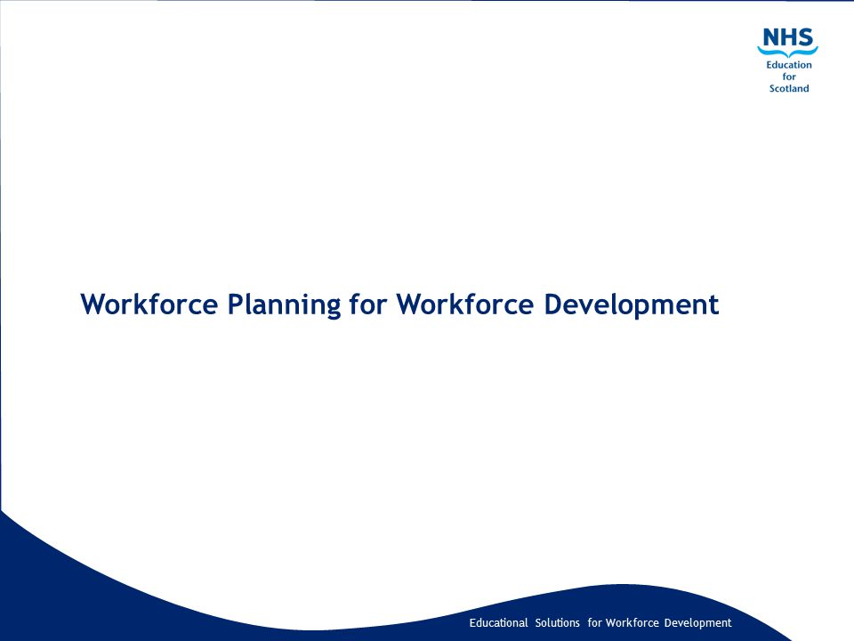 Educational Solutions for Workforce Development Workforce Planning for Workforce Development