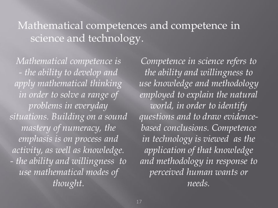Mathematical competences and competence in science and technology.