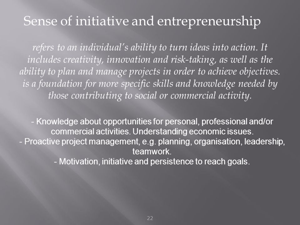 Sense of initiative and entrepreneurship 22 refers to an individual's ability to turn ideas into action.