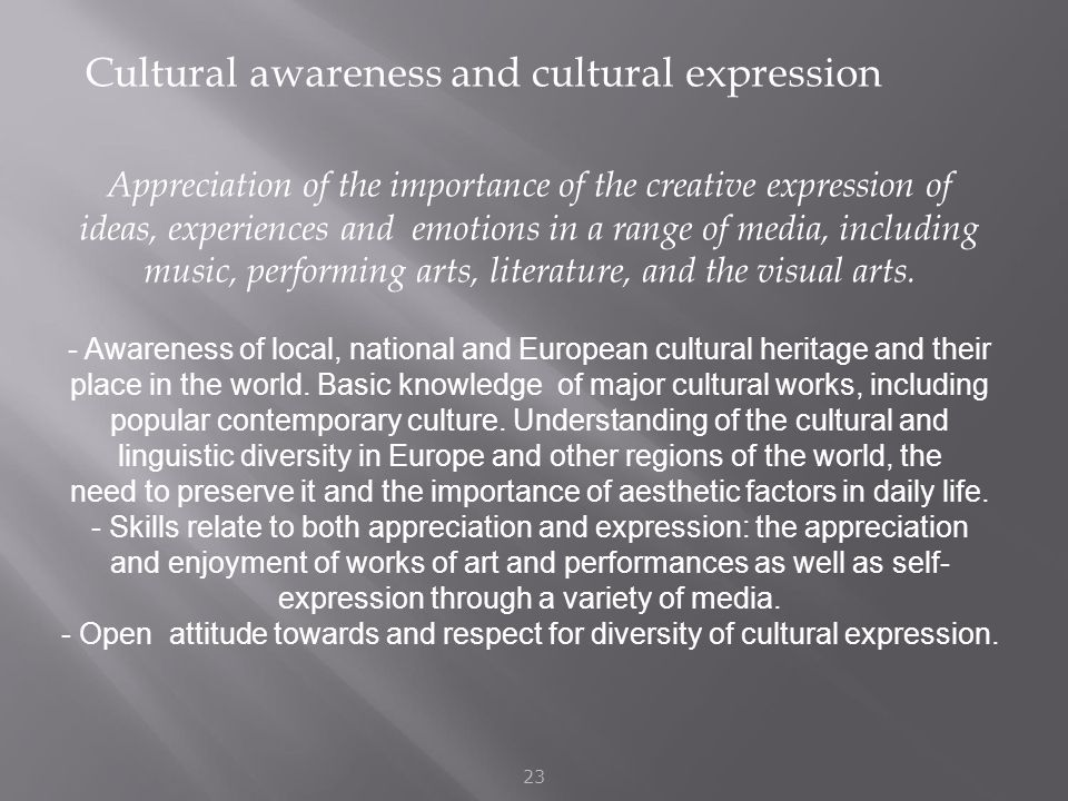 Cultural awareness and cultural expression 23 Appreciation of the importance of the creative expression of ideas, experiences and emotions in a range of media, including music, performing arts, literature, and the visual arts.