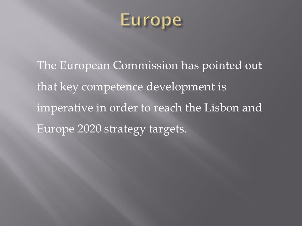 The European Commission has pointed out that key competence development is imperative in order to reach the Lisbon and Europe 2020 strategy targets.