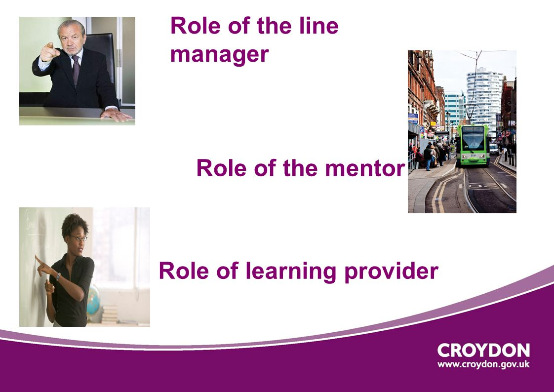 Role of the line manager Role of learning provider Role of the mentor