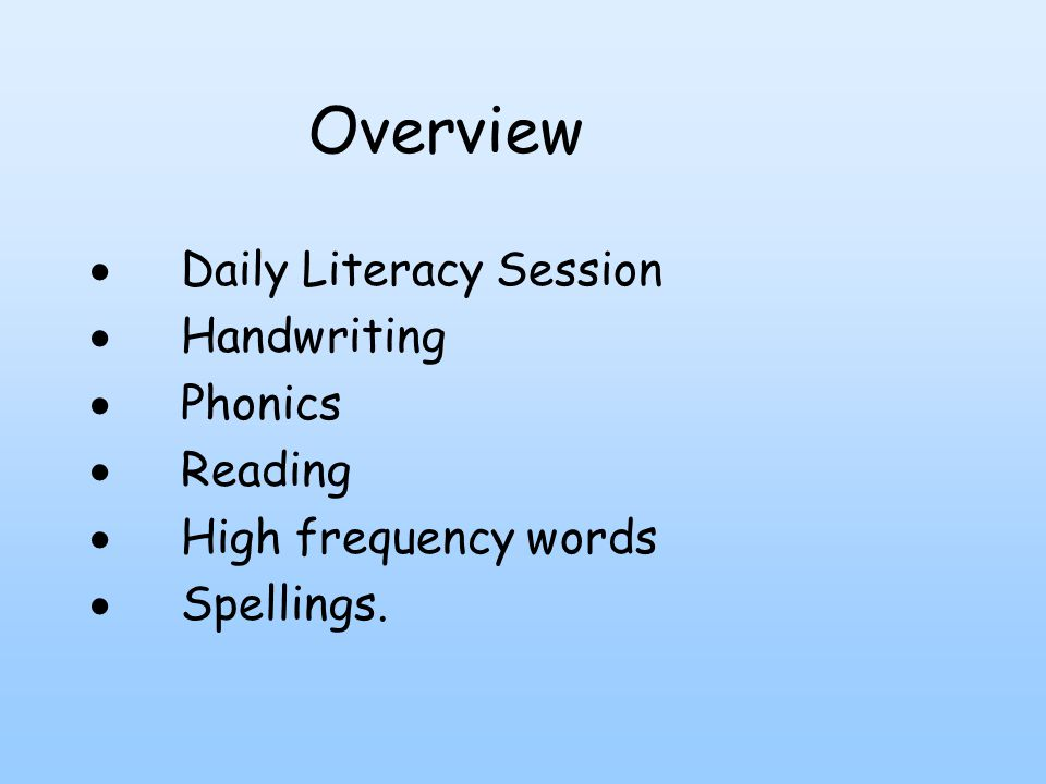  Daily Literacy Session  Handwriting  Phonics  Reading  High frequency words  Spellings.
