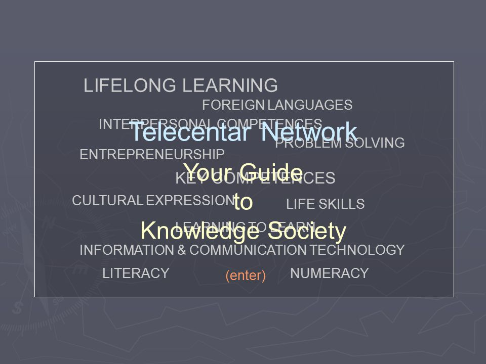 KEY COMPETENCES LIFELONG LEARNING LITERACYNUMERACY FOREIGN LANGUAGES CULTURAL EXPRESSION INTERPERSONAL COMPETENCES INFORMATION & COMMUNICATION TECHNOL