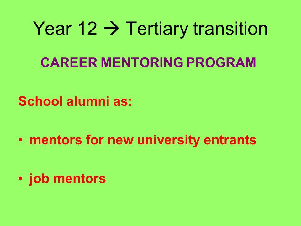 Year 12  Tertiary transition CAREER MENTORING PROGRAM School alumni as: mentors for new university entrants job mentors