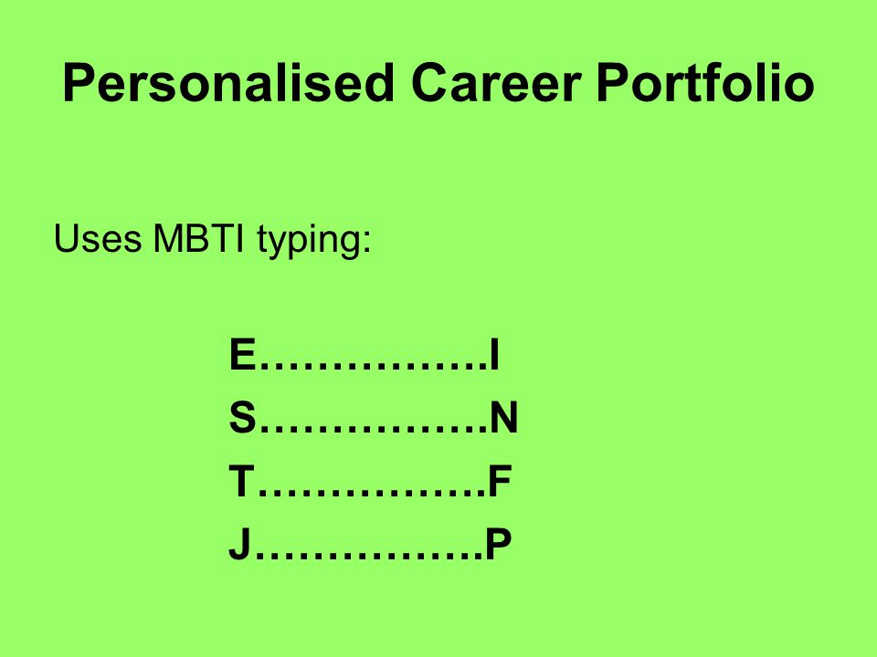 Uses MBTI typing: E…………….I S…………….N T…………….F J…………….P Personalised Career Portfolio
