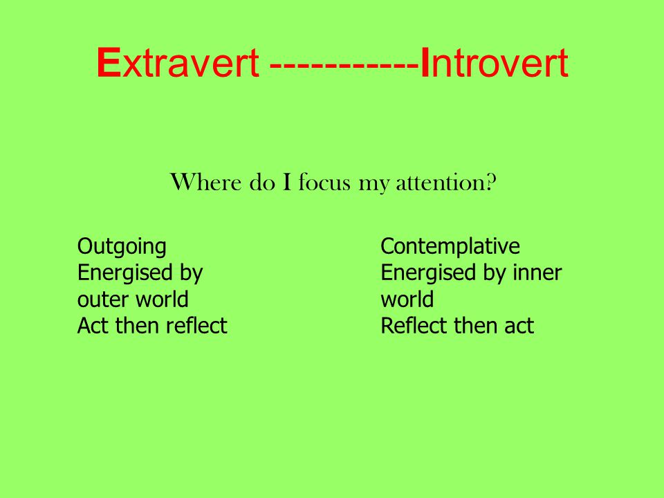 Extravert -----------Introvert Where do I focus my attention.