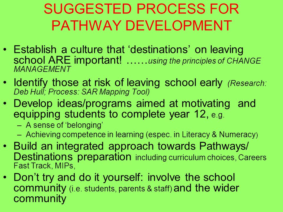 SUGGESTED PROCESS FOR PATHWAY DEVELOPMENT Establish a culture that 'destinations' on leaving school ARE important.