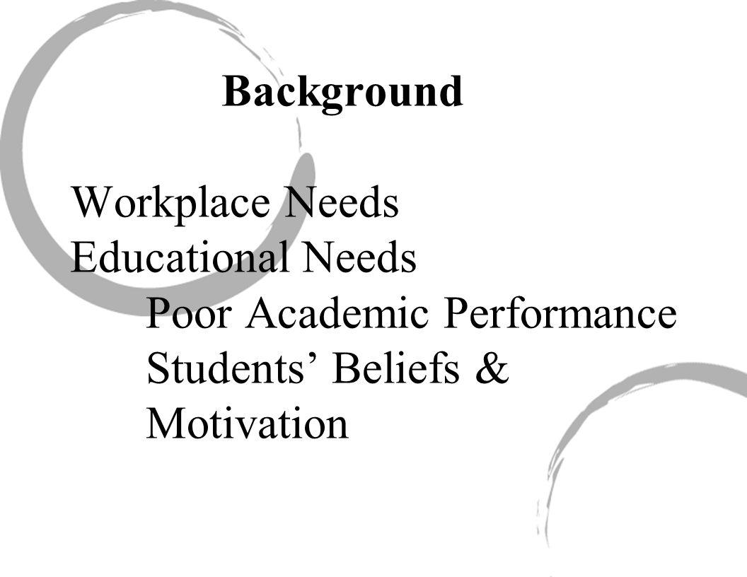 Background Workplace Needs Educational Needs Poor Academic Performance Students' Beliefs & Motivation