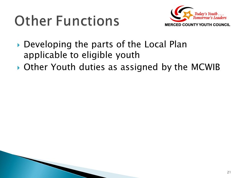  Developing the parts of the Local Plan applicable to eligible youth  Other Youth duties as assigned by the MCWIB 21