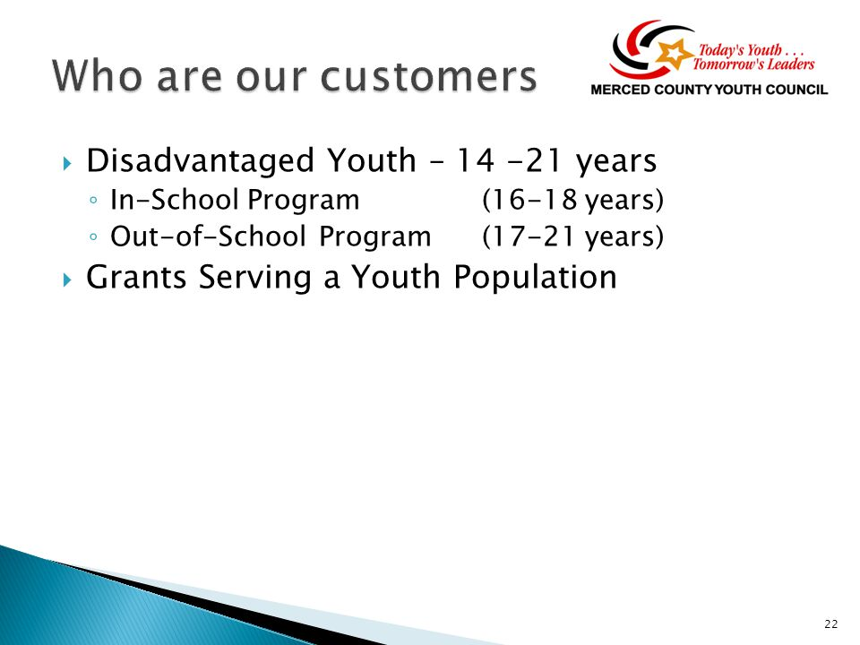  Disadvantaged Youth – 14 -21 years ◦ In-School Program(16-18 years) ◦ Out-of-School Program(17-21 years)  Grants Serving a Youth Population 22