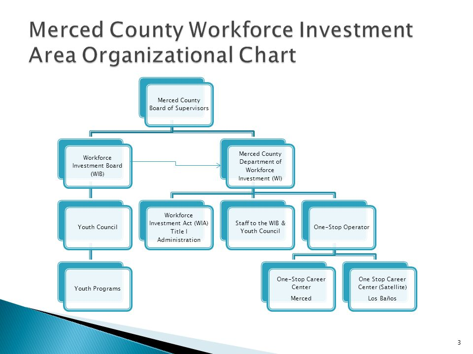 3 Merced County Board of Supervisors Workforce Investment Board (WIB) Youth CouncilYouth Programs Merced County Department of Workforce Investment (WI) Workforce Investment Act (WIA) Title I Administration Staff to the WIB & Youth Council One-Stop Operator One-Stop Career Center Merced One Stop Career Center (Satellite) Los Baños