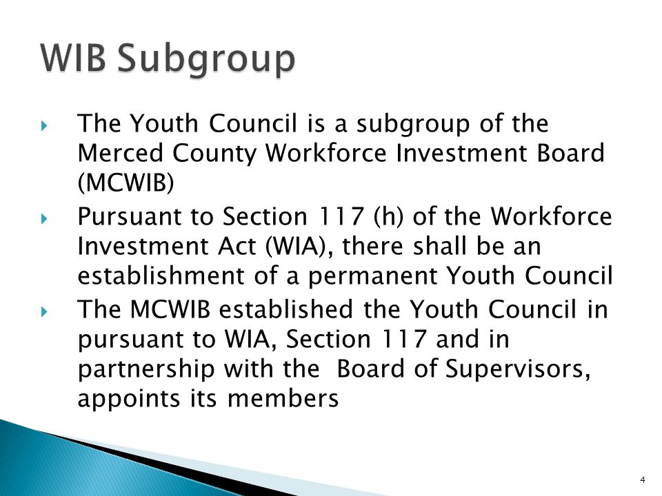  The Youth Council is a subgroup of the Merced County Workforce Investment Board (MCWIB)  Pursuant to Section 117 (h) of the Workforce Investment Act (WIA), there shall be an establishment of a permanent Youth Council  The MCWIB established the Youth Council in pursuant to WIA, Section 117 and in partnership with the Board of Supervisors, appoints its members 4