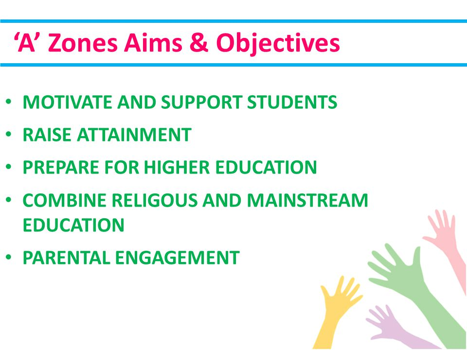 MOTIVATE AND SUPPORT STUDENTS RAISE ATTAINMENT PREPARE FOR HIGHER EDUCATION COMBINE RELIGOUS AND MAINSTREAM EDUCATION PARENTAL ENGAGEMENT 'A' Zones Aims & Objectives