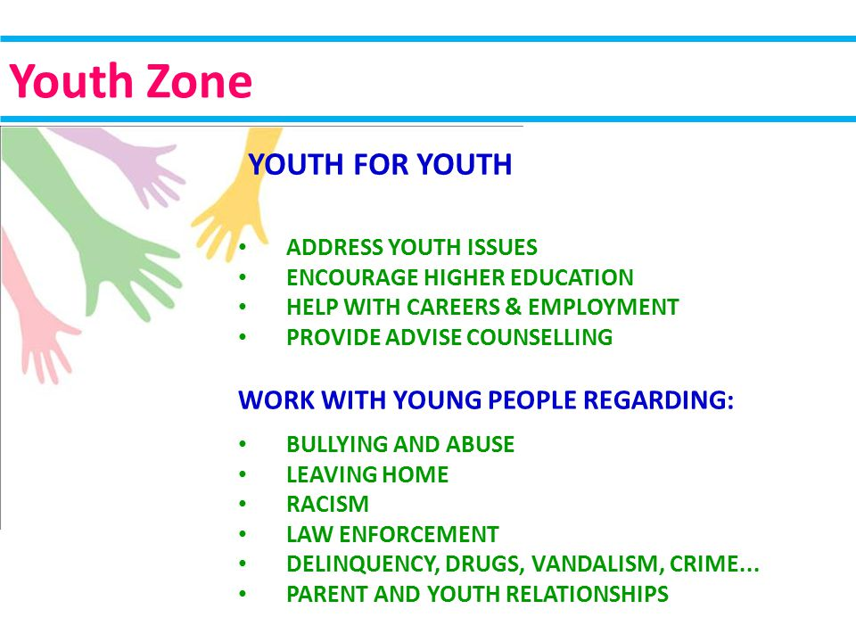 ADDRESS YOUTH ISSUES ENCOURAGE HIGHER EDUCATION HELP WITH CAREERS & EMPLOYMENT PROVIDE ADVISE COUNSELLING WORK WITH YOUNG PEOPLE REGARDING: BULLYING AND ABUSE LEAVING HOME RACISM LAW ENFORCEMENT DELINQUENCY, DRUGS, VANDALISM, CRIME...