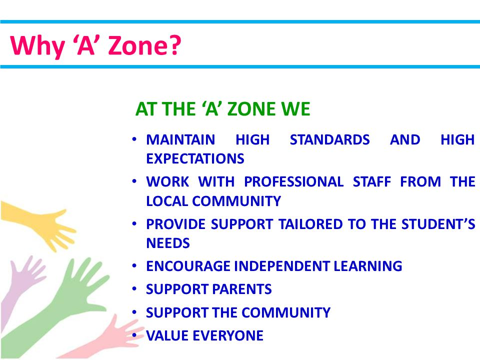 MAINTAIN HIGH STANDARDS AND HIGH EXPECTATIONS WORK WITH PROFESSIONAL STAFF FROM THE LOCAL COMMUNITY PROVIDE SUPPORT TAILORED TO THE STUDENT'S NEEDS ENCOURAGE INDEPENDENT LEARNING SUPPORT PARENTS SUPPORT THE COMMUNITY VALUE EVERYONE Why 'A' Zone.