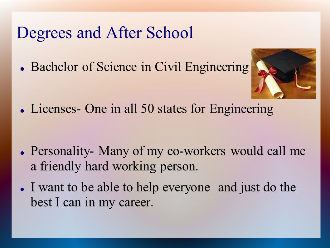 Degrees and After School Bachelor of Science in Civil Engineering Licenses- One in all 50 states for Engineering Personality- Many of my co-workers would call me a friendly hard working person.
