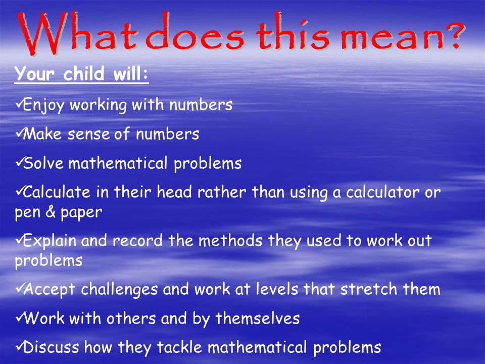 Your child will: Enjoy working with numbers Make sense of numbers Solve mathematical problems Calculate in their head rather than using a calculator or pen & paper Explain and record the methods they used to work out problems Accept challenges and work at levels that stretch them Work with others and by themselves Discuss how they tackle mathematical problems