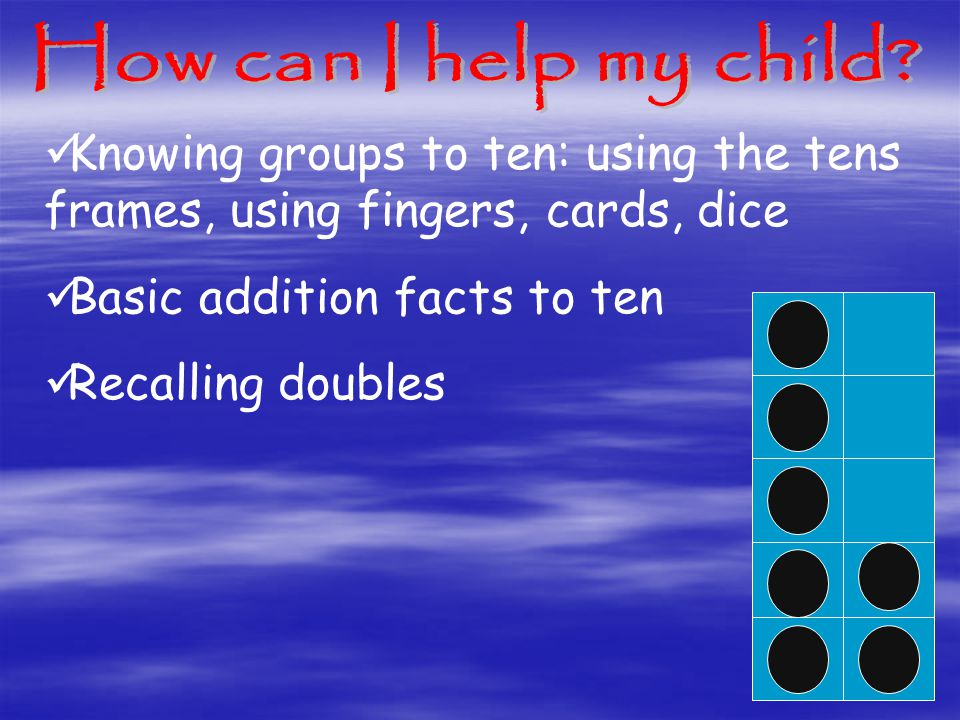 Knowing groups to ten: using the tens frames, using fingers, cards, dice Basic addition facts to ten Recalling doubles