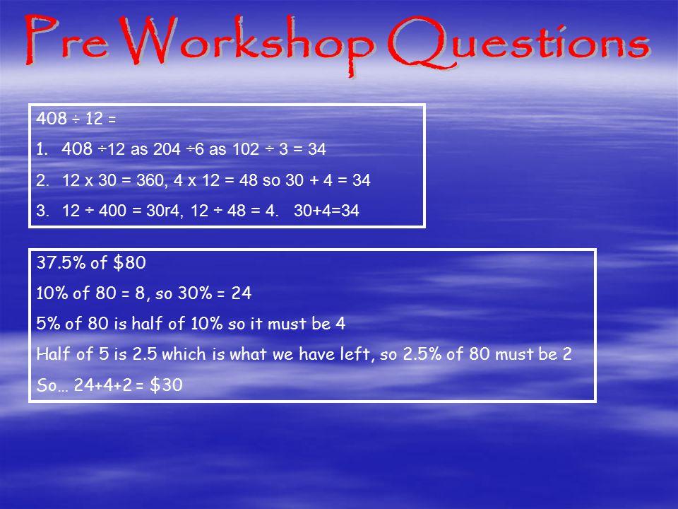 408 ÷ 12 = 1.408 ÷12 as 204 ÷6 as 102 ÷ 3 = 34 2.12 x 30 = 360, 4 x 12 = 48 so 30 + 4 = 34 3.12 ÷ 400 = 30r4, 12 ÷ 48 = 4.