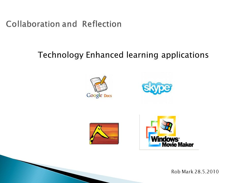 Rob Mark 28.5.2010 Technology Enhanced learning applications