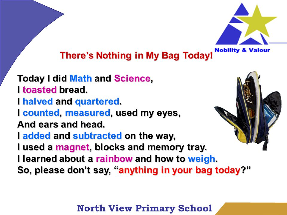 North View Primary School There's Nothing in My Bag Today.