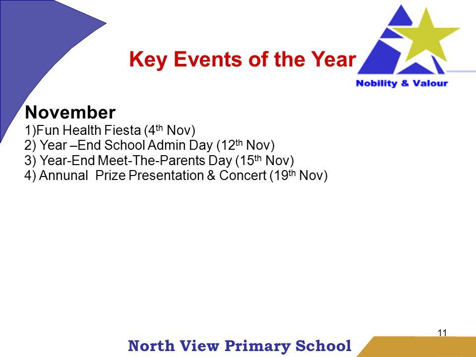 North View Primary School 11 Key Events of the Year November 1)Fun Health Fiesta (4 th Nov) 2) Year –End School Admin Day (12 th Nov) 3) Year-End Meet-The-Parents Day (15 th Nov) 4) Annunal Prize Presentation & Concert (19 th Nov)