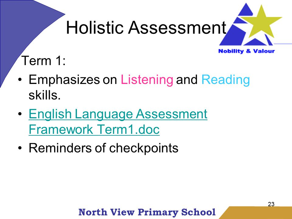 North View Primary School Holistic Assessment 23 Term 1: Emphasizes on Listening and Reading skills.