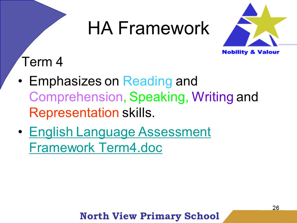 North View Primary School HA Framework 26 Term 4 Emphasizes on Reading and Comprehension, Speaking, Writing and Representation skills.