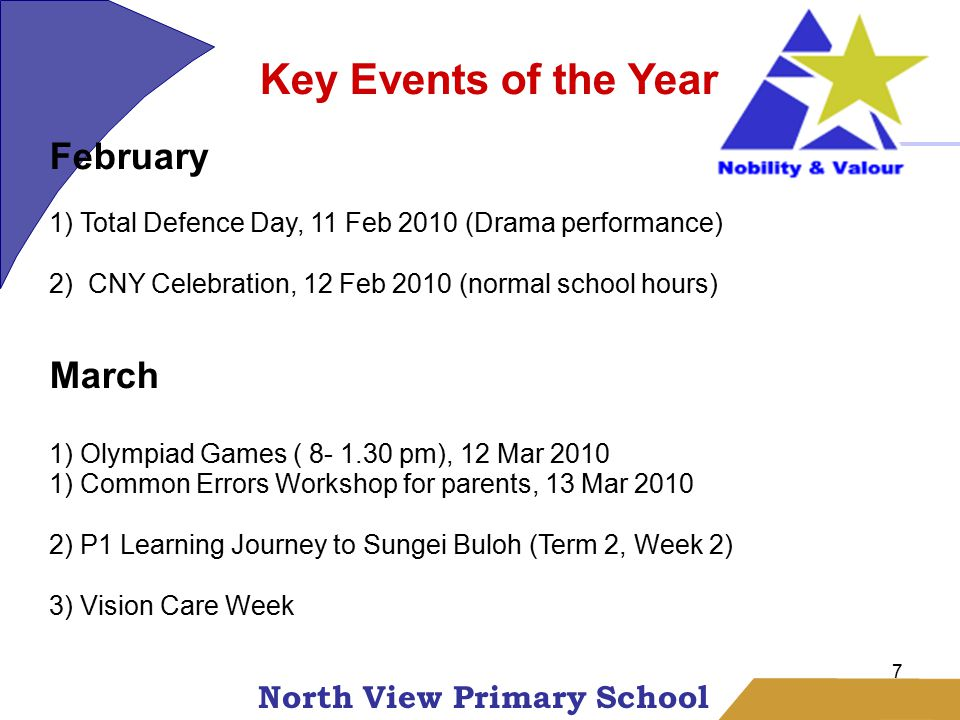 North View Primary School 7 Key Events of the Year February 1) Total Defence Day, 11 Feb 2010 (Drama performance) 2) CNY Celebration, 12 Feb 2010 (normal school hours) March 1) Olympiad Games ( 8- 1.30 pm), 12 Mar 2010 1) Common Errors Workshop for parents, 13 Mar 2010 2) P1 Learning Journey to Sungei Buloh (Term 2, Week 2) 3) Vision Care Week