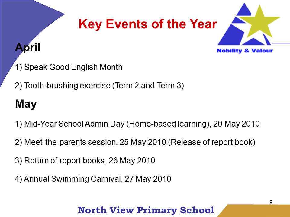 North View Primary School 8 Key Events of the Year April 1) Speak Good English Month 2) Tooth-brushing exercise (Term 2 and Term 3) May 1) Mid-Year School Admin Day (Home-based learning), 20 May 2010 2) Meet-the-parents session, 25 May 2010 (Release of report book) 3) Return of report books, 26 May 2010 4) Annual Swimming Carnival, 27 May 2010
