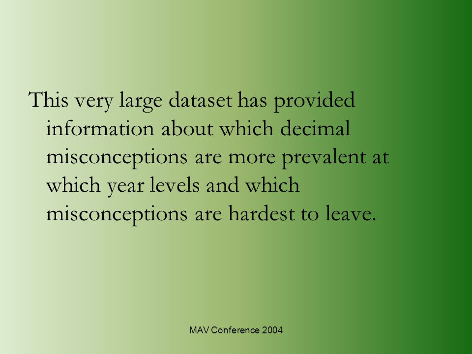 MAV Conference 2004 This very large dataset has provided information about which decimal misconceptions are more prevalent at which year levels and which misconceptions are hardest to leave.