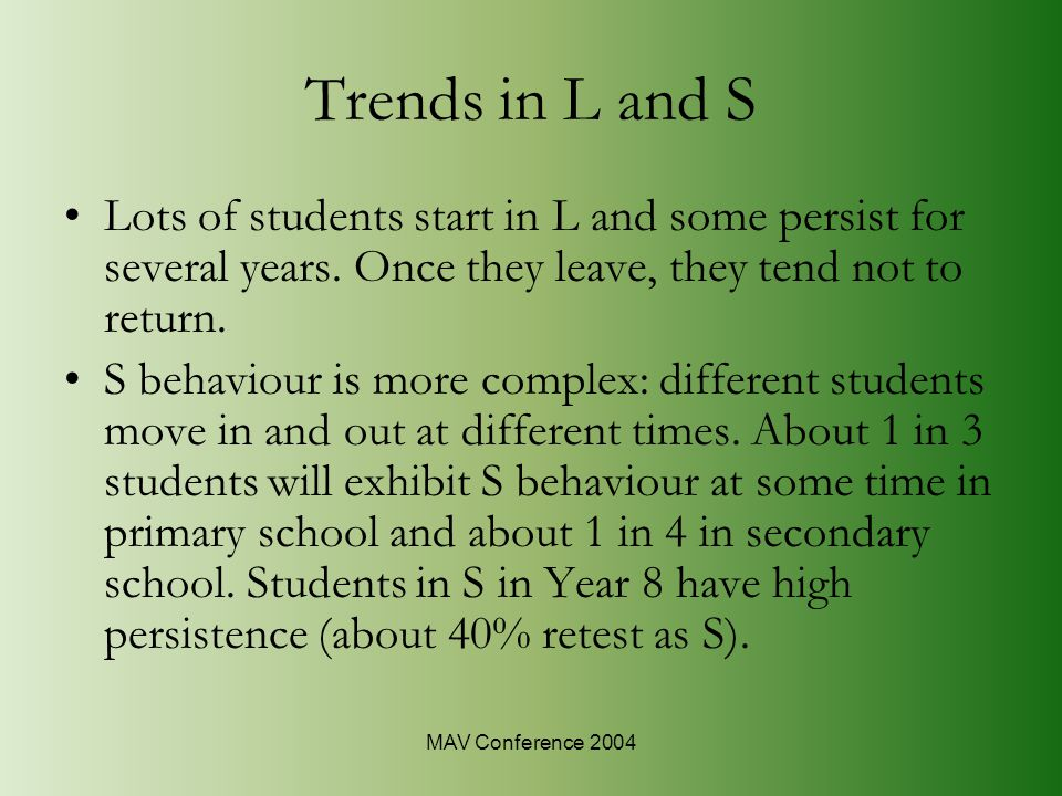 MAV Conference 2004 Trends in L and S Lots of students start in L and some persist for several years.