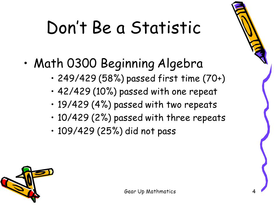 Gear Up Mathmatics5 Don't Be a Statistic Placement scores determine the first course at college Placement tests contain many of the same problems and objectives as Algebra I and Algebra II (60%) Most problems contain basic arithmetic Many of these are application problems