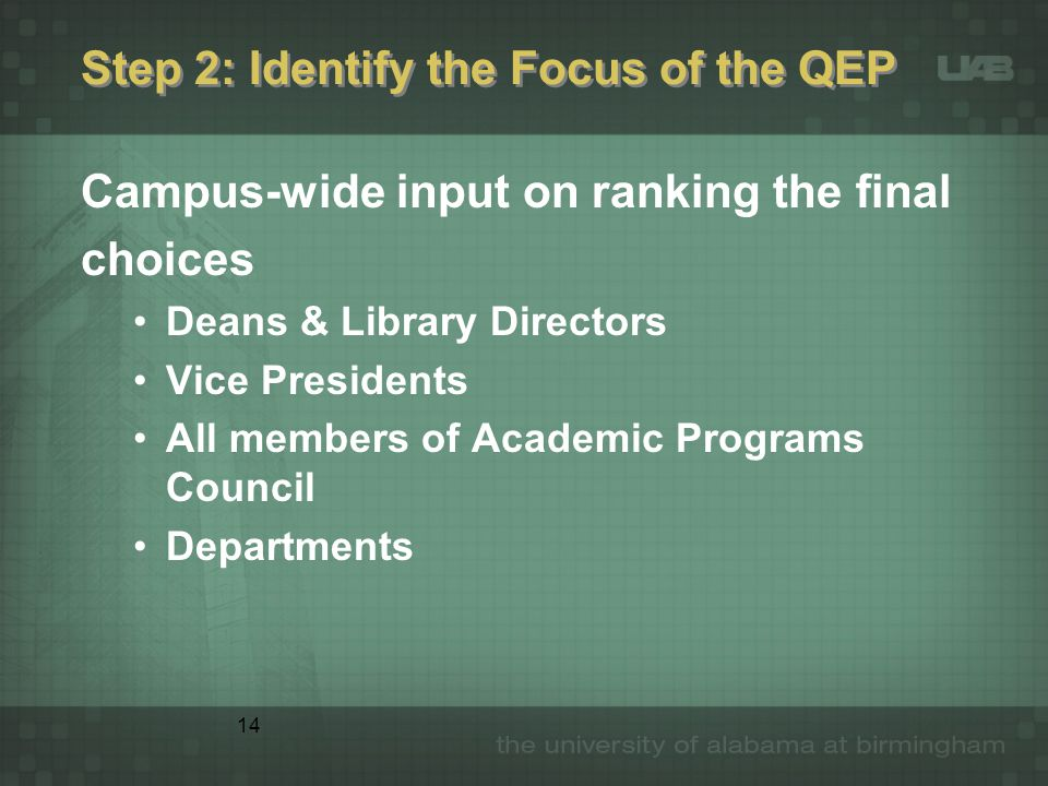 14 Step 2: Identify the Focus of the QEP Campus-wide input on ranking the final choices Deans & Library Directors Vice Presidents All members of Academic Programs Council Departments