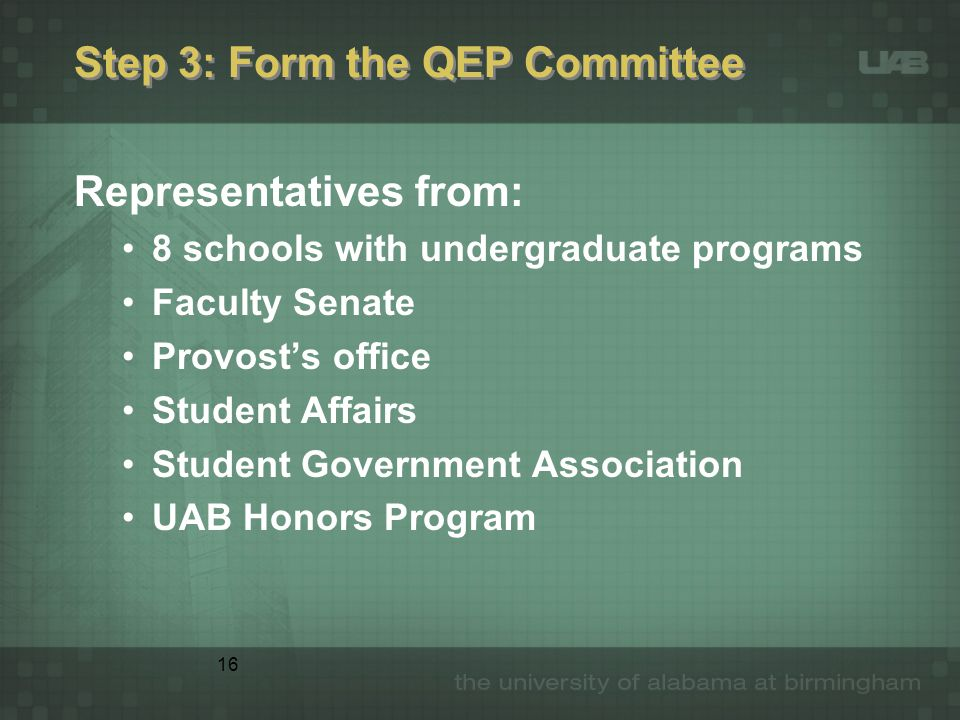16 Step 3: Form the QEP Committee Representatives from: 8 schools with undergraduate programs Faculty Senate Provost's office Student Affairs Student Government Association UAB Honors Program