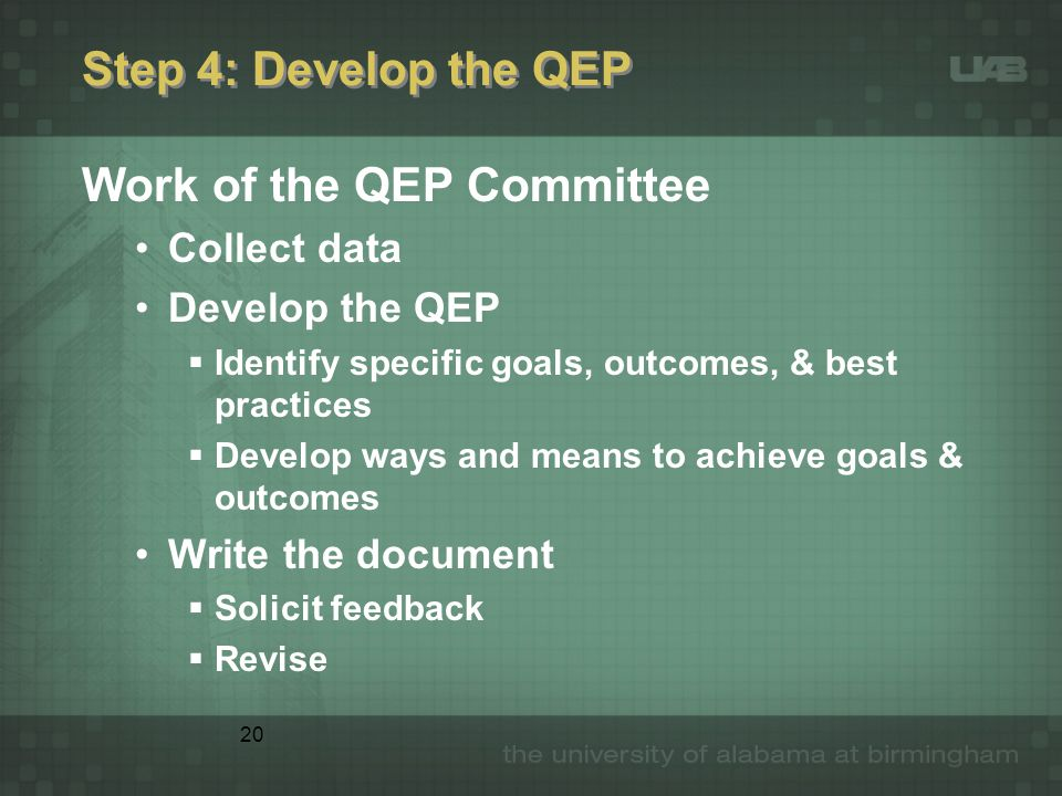 20 Step 4: Develop the QEP Work of the QEP Committee Collect data Develop the QEP  Identify specific goals, outcomes, & best practices  Develop ways
