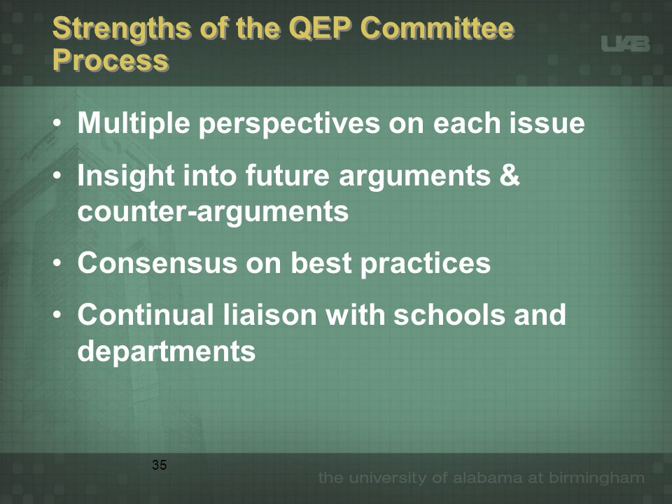 35 Strengths of the QEP Committee Process Multiple perspectives on each issue Insight into future arguments & counter-arguments Consensus on best practices Continual liaison with schools and departments