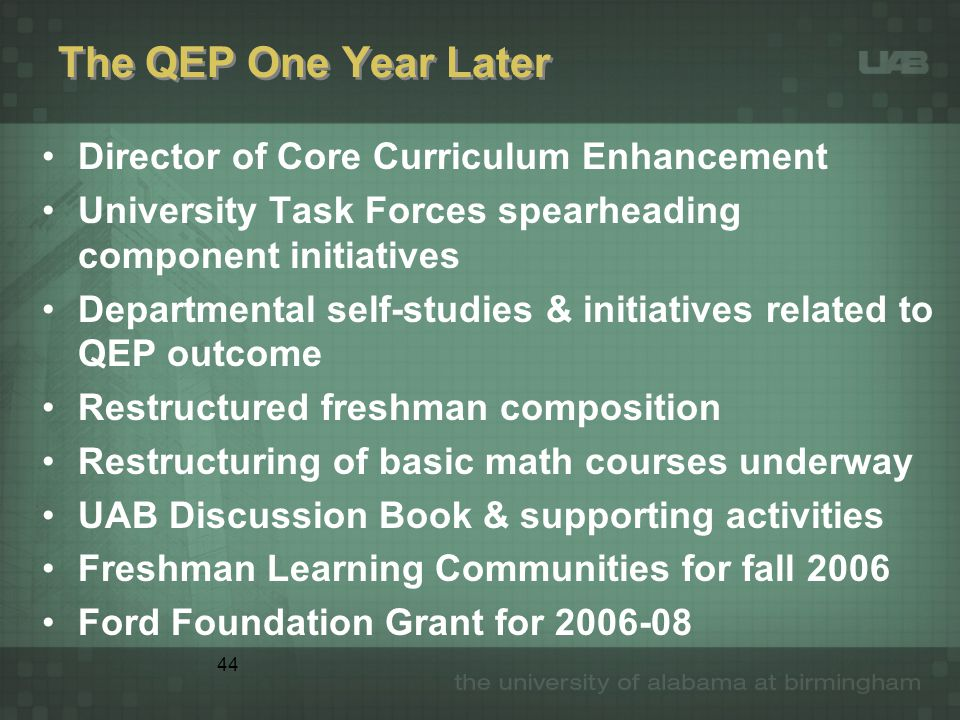 44 The QEP One Year Later Director of Core Curriculum Enhancement University Task Forces spearheading component initiatives Departmental self-studies & initiatives related to QEP outcome Restructured freshman composition Restructuring of basic math courses underway UAB Discussion Book & supporting activities Freshman Learning Communities for fall 2006 Ford Foundation Grant for 2006-08