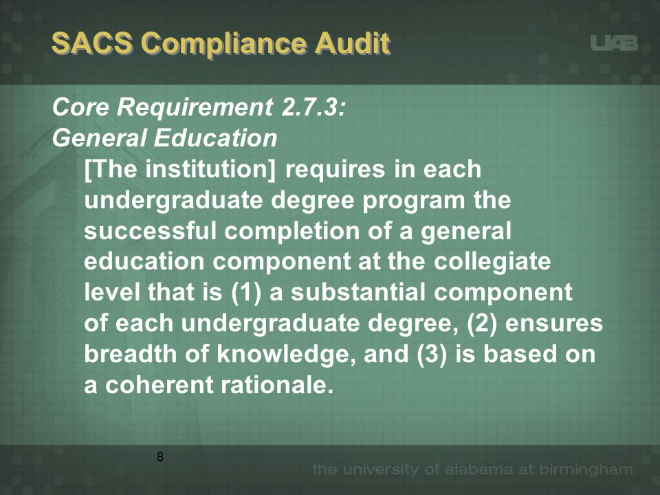 8 SACS Compliance Audit Core Requirement 2.7.3: General Education [The institution] requires in each undergraduate degree program the successful completion of a general education component at the collegiate level that is (1) a substantial component of each undergraduate degree, (2) ensures breadth of knowledge, and (3) is based on a coherent rationale.