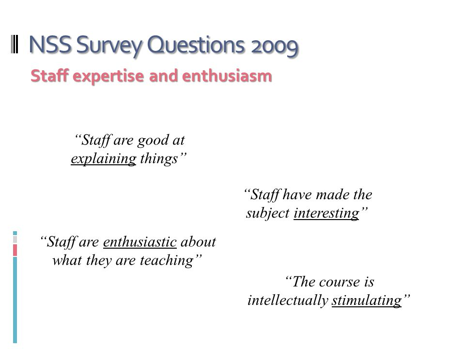NSS Survey Questions 2009 Staff expertise and enthusiasm Staff are good at explaining things Staff have made the subject interesting Staff are enthusiastic about what they are teaching The course is intellectually stimulating