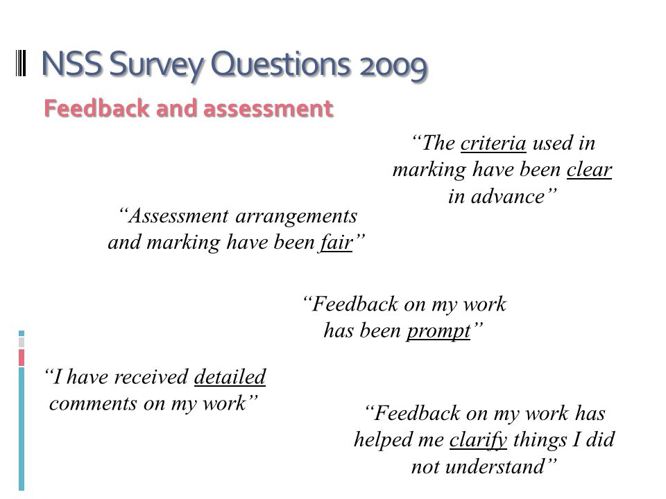 NSS Survey Questions 2009 Feedback and assessment The criteria used in marking have been clear in advance Assessment arrangements and marking have been fair Feedback on my work has been prompt I have received detailed comments on my work Feedback on my work has helped me clarify things I did not understand