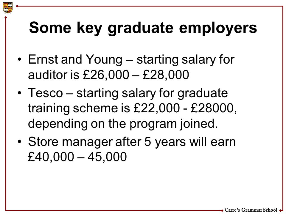 Carre's Grammar School Some key graduate employers Ernst and Young – starting salary for auditor is £26,000 – £28,000 Tesco – starting salary for grad
