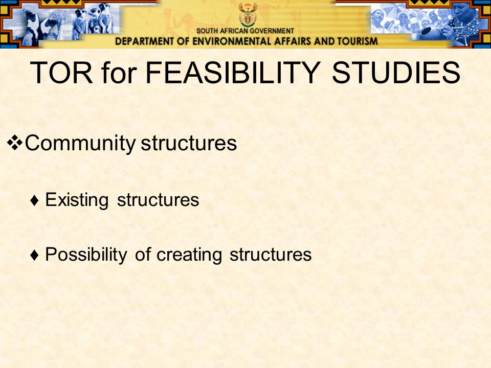 TOR for FEASIBILITY STUDIES  Community structures ♦Existing structures ♦Possibility of creating structures