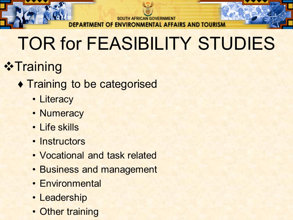 TOR for FEASIBILITY STUDIES  Training ♦Training to be categorised Literacy Numeracy Life skills Instructors Vocational and task related Business and management Environmental Leadership Other training