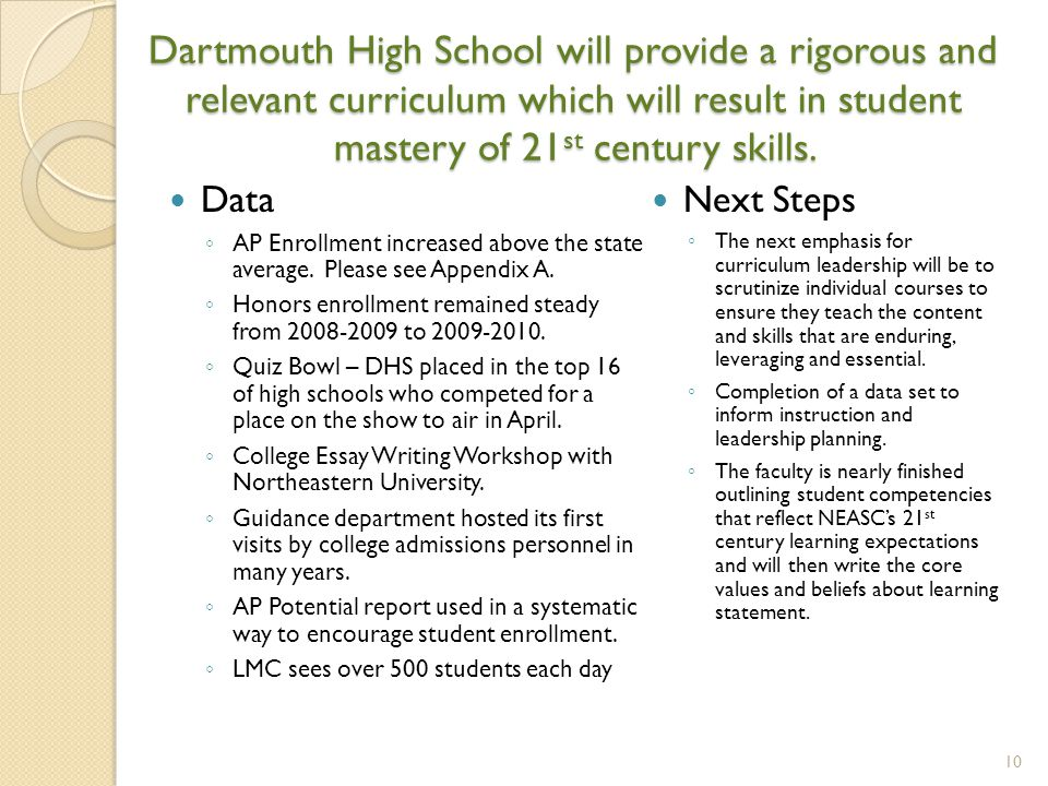 Dartmouth High School will provide a rigorous and relevant curriculum which will result in student mastery of 21 st century skills. Data ◦ AP Enrollme