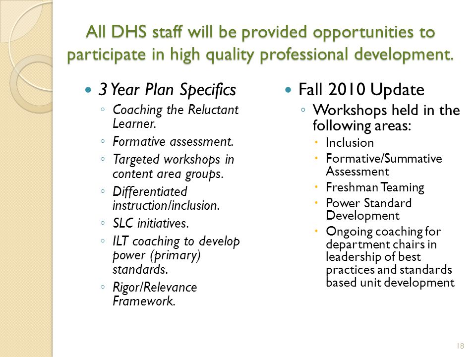 All DHS staff will be provided opportunities to participate in high quality professional development.